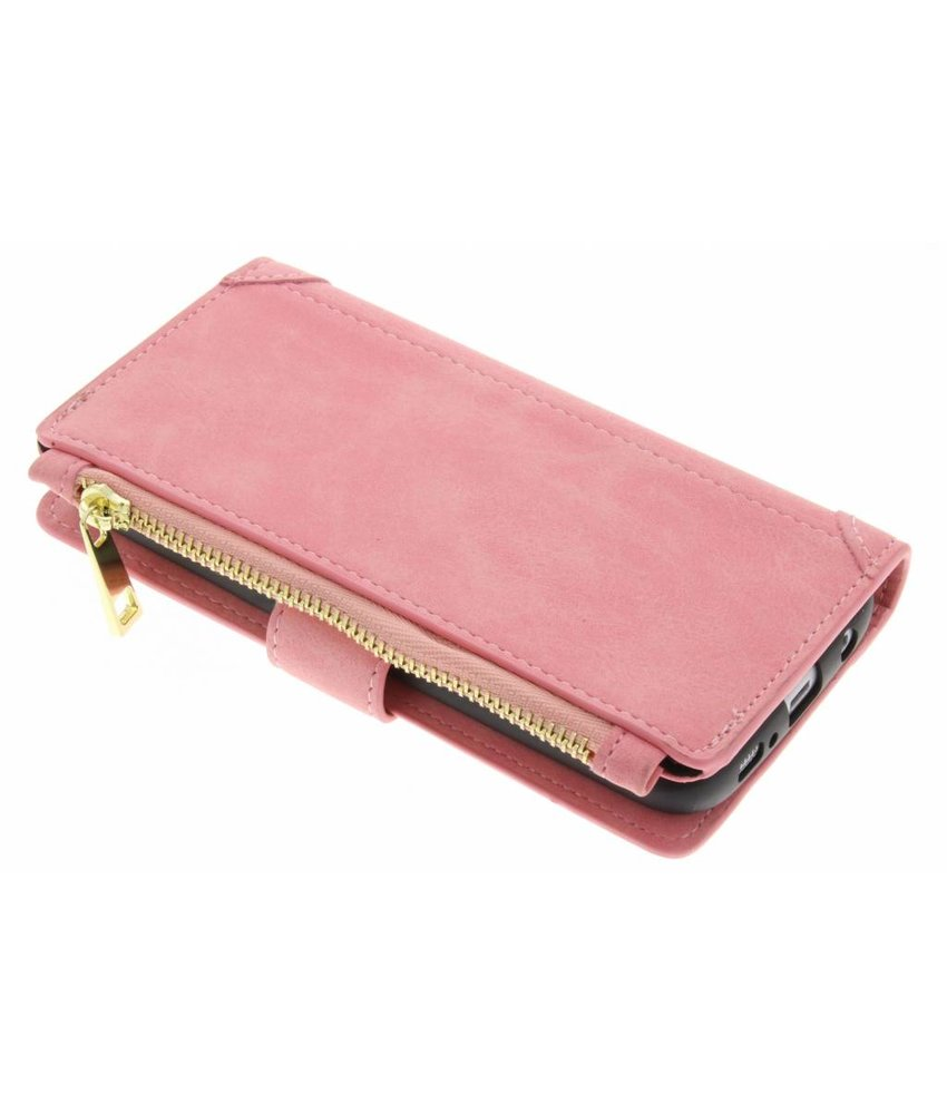 Roze luxe portemonnee hoes iPhone Xs / X