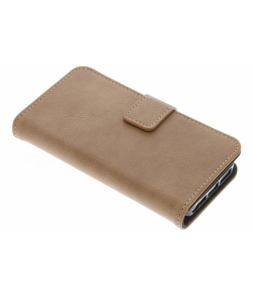 Lichtbruin luxe leder booktype hoes iPhone 5 / 5s / SE
