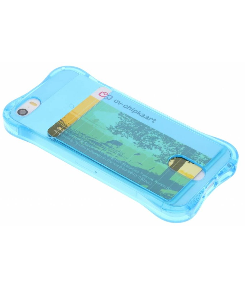 Blauw TPU hoesje met vakje iPhone 5 / 5s / SE