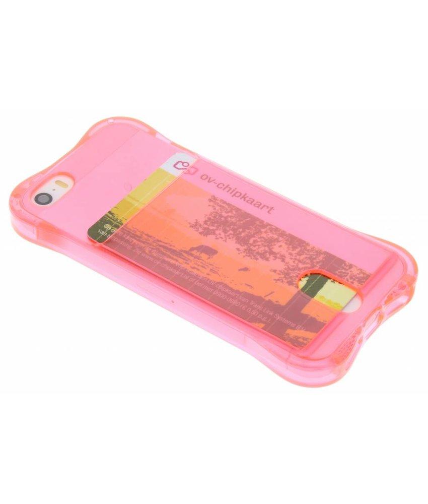 Roze TPU hoesje met vakje iPhone 5 / 5s / SE