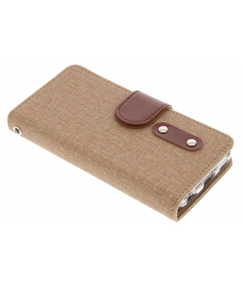 Bruin linnen TPU booktype hoes iPhone 5c