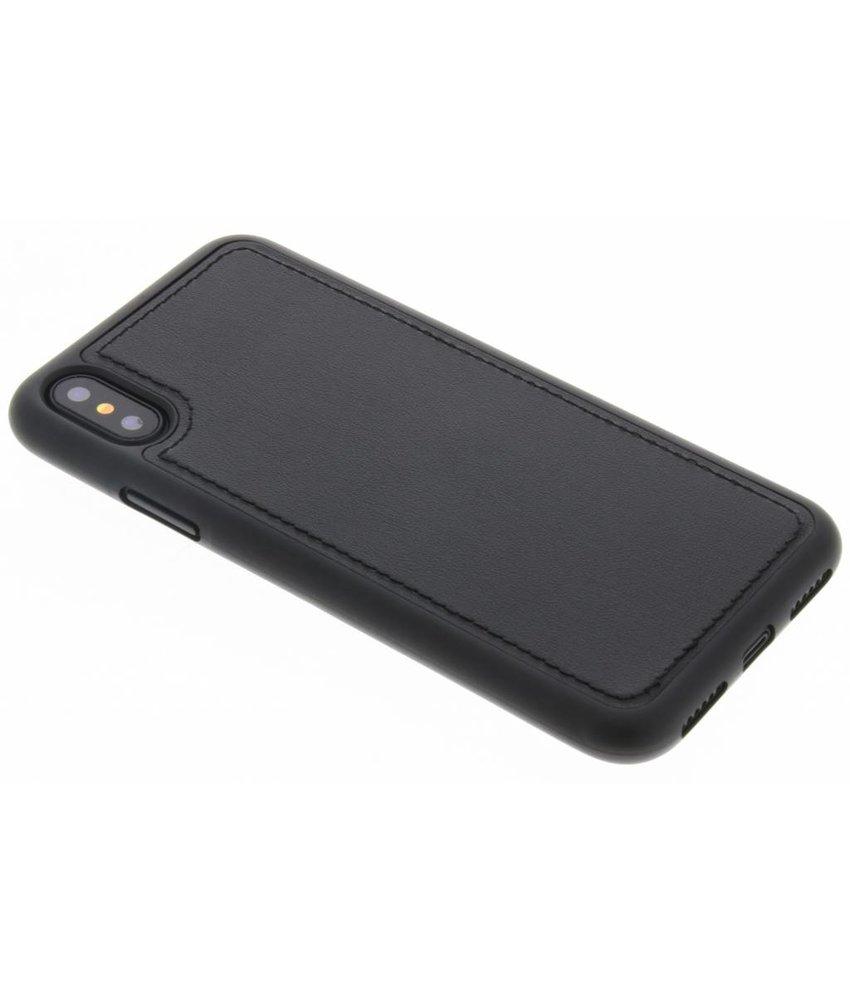 Zwart lederen TPU case iPhone X