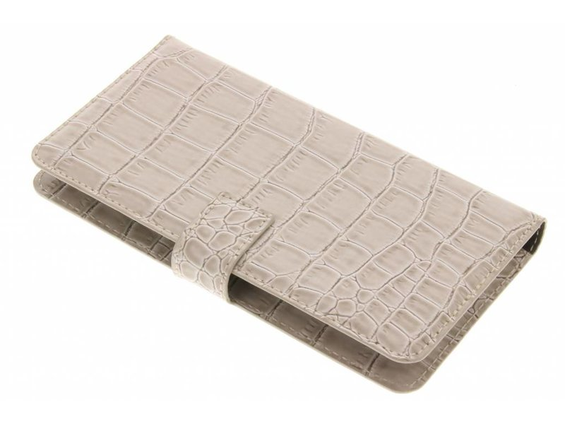 Guess Universele Shiny Croco Booktype Case Maat XL - Beige