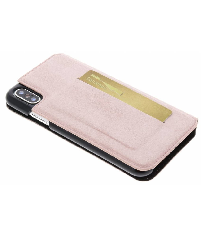 Bugatti Roze Parigi Ultrasuede Booklet iPhone Xs / X