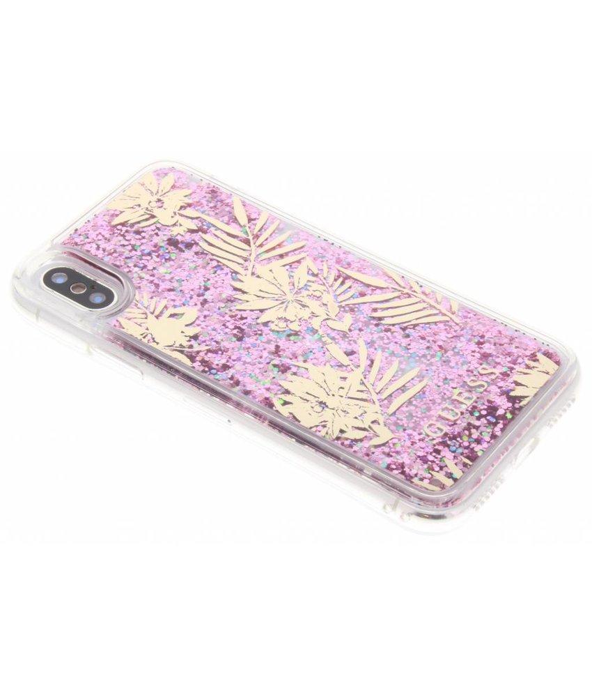 Guess Rosé Goud Liquid Glitter Palm Spring Case iPhone X