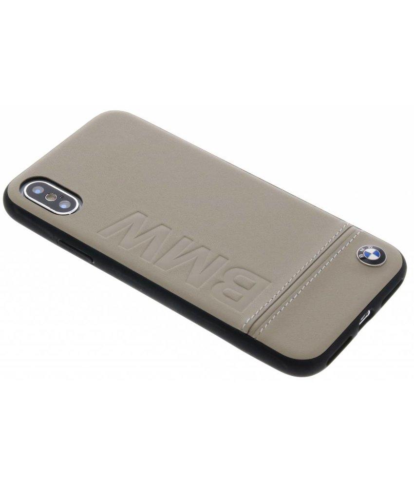 BMW Taupe Logo Leather Hard Case iPhone X