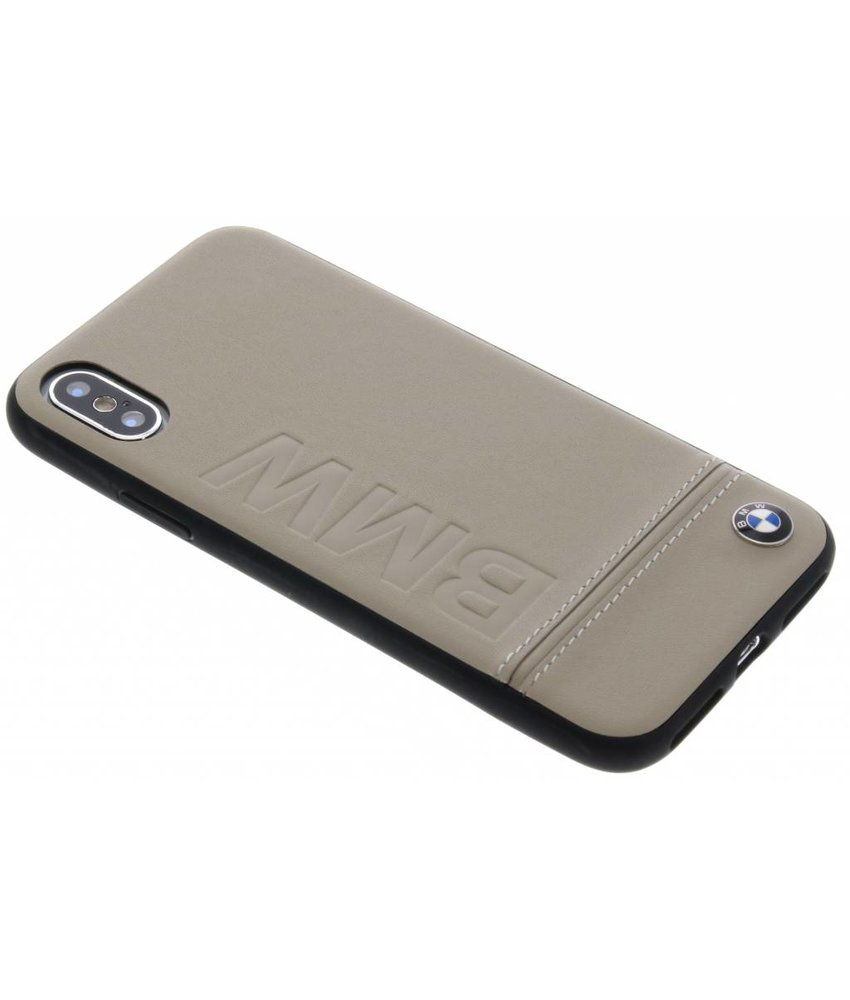 BMW Taupe Logo Leather Hard Case iPhone Xs / X