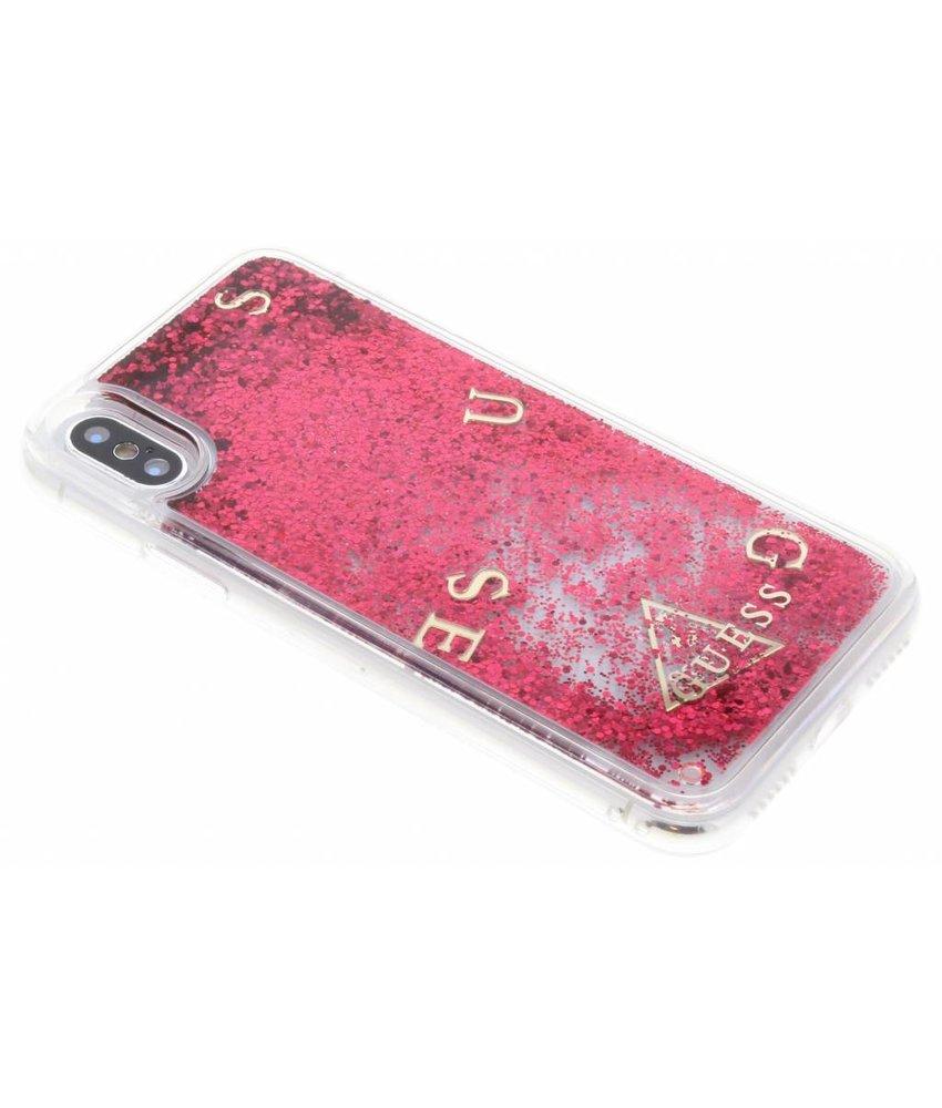 Guess Rood Liquid Glitter Hardcase iPhone X