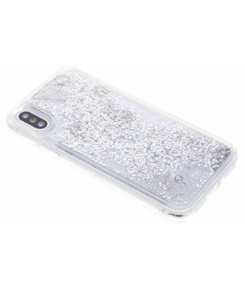 Guess Zilver Liquid Glitter Hardcase iPhone X