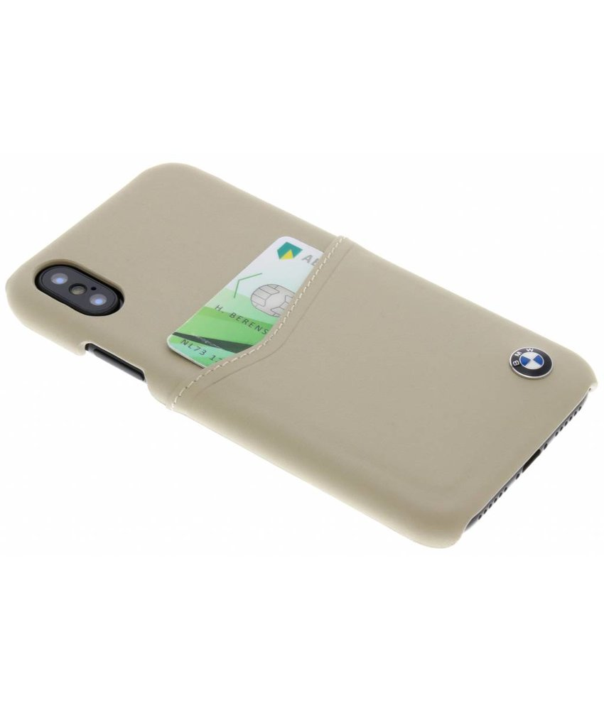 BMW Beige Leather Card Case iPhone Xs / X