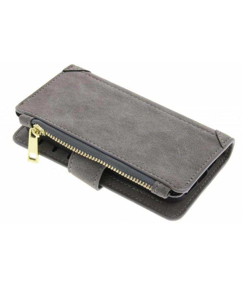 Grijs luxe portemonnee hoes iPhone 5 / 5s / SE
