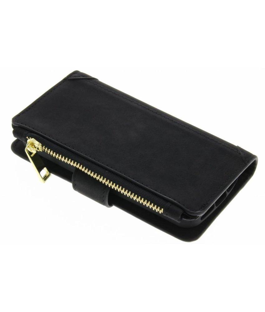 Zwart luxe portemonnee hoes iPhone 5 / 5s / SE