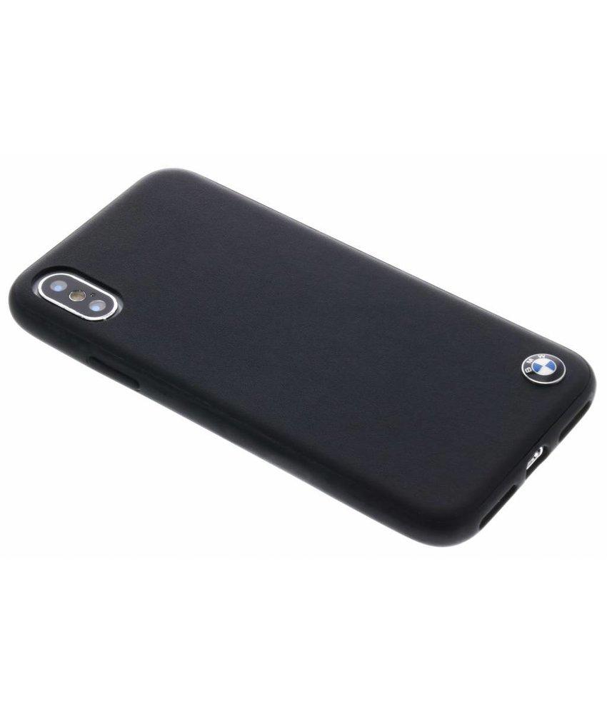 BMW Zwart Genuine Leather Hard Case iPhone X