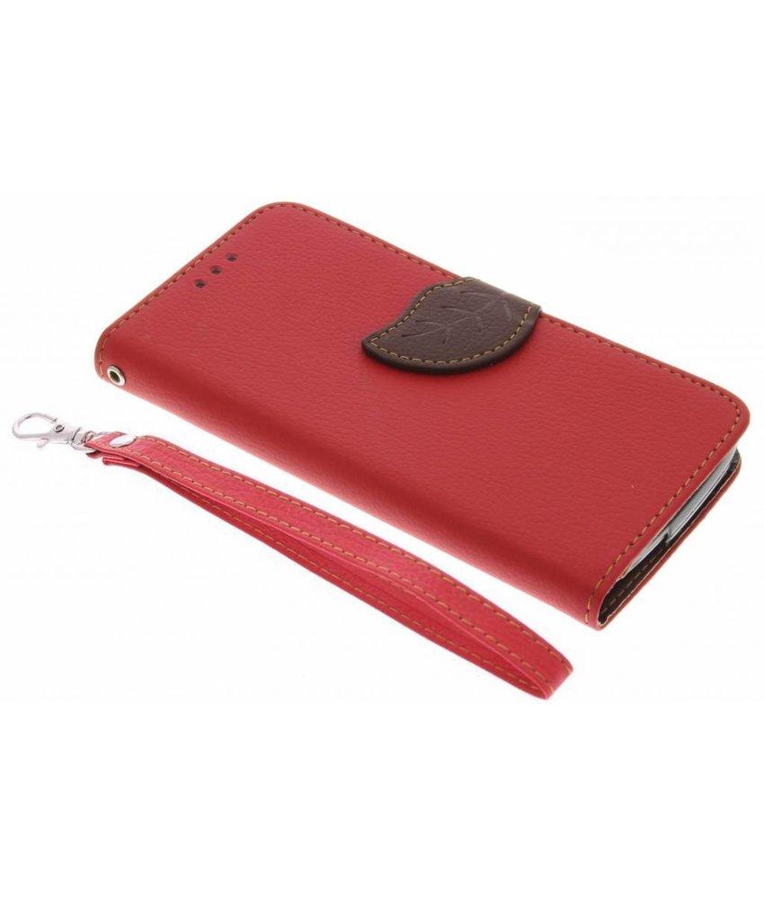 Rood blad design TPU booktype hoes Acer Liquid Z530