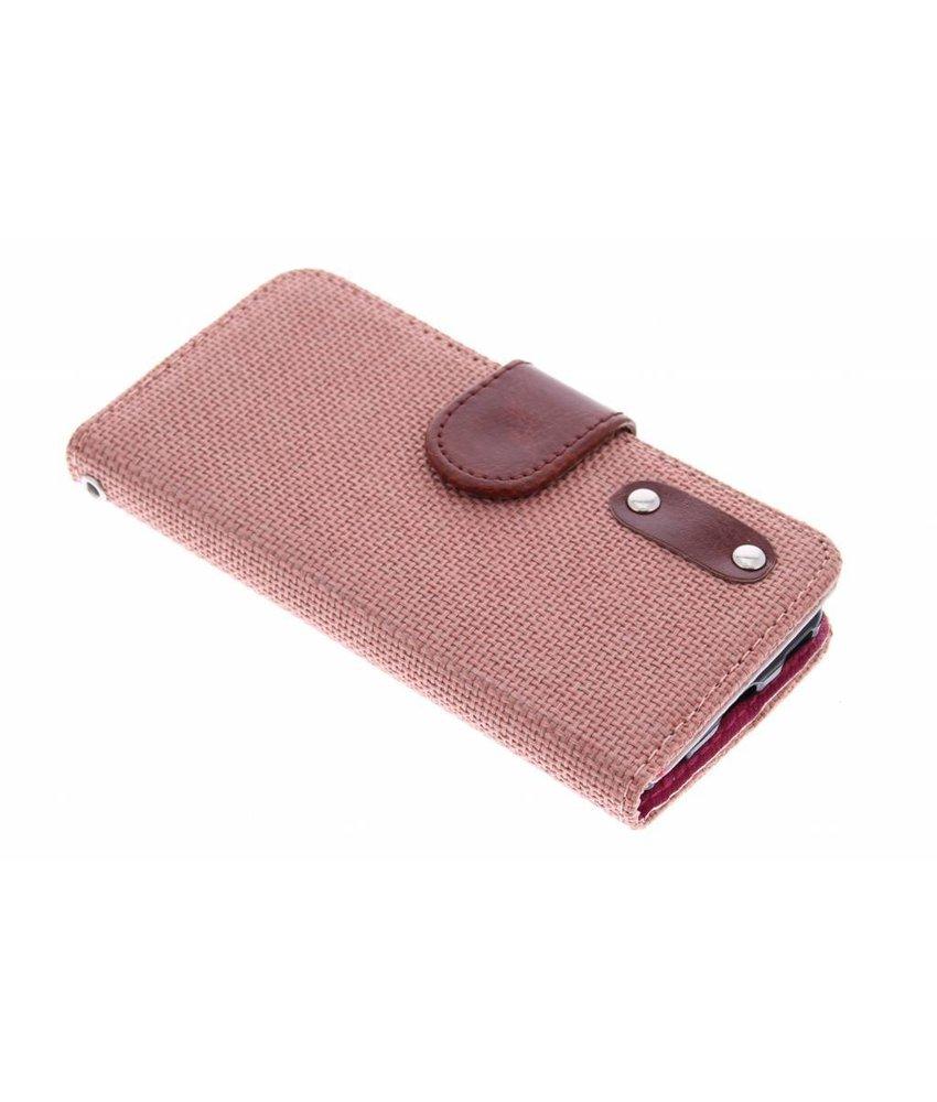 Zalmroze linnen look TPU booktype iPod Touch 5g / 6