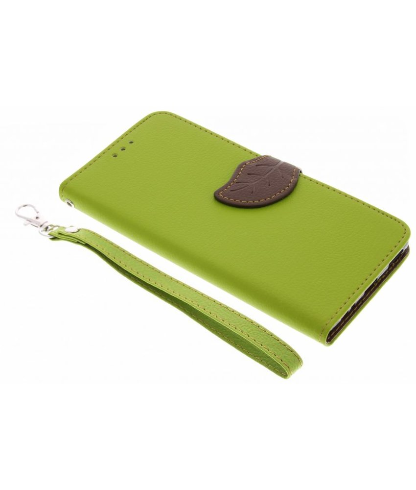 Groen blad design TPU booktype hoes Huawei P9 Plus