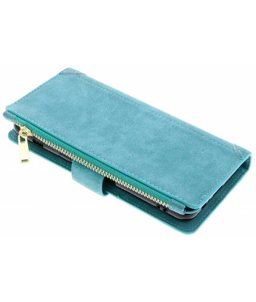 Turquoise luxe portemonnee hoes Samsung Galaxy A8 (2018)