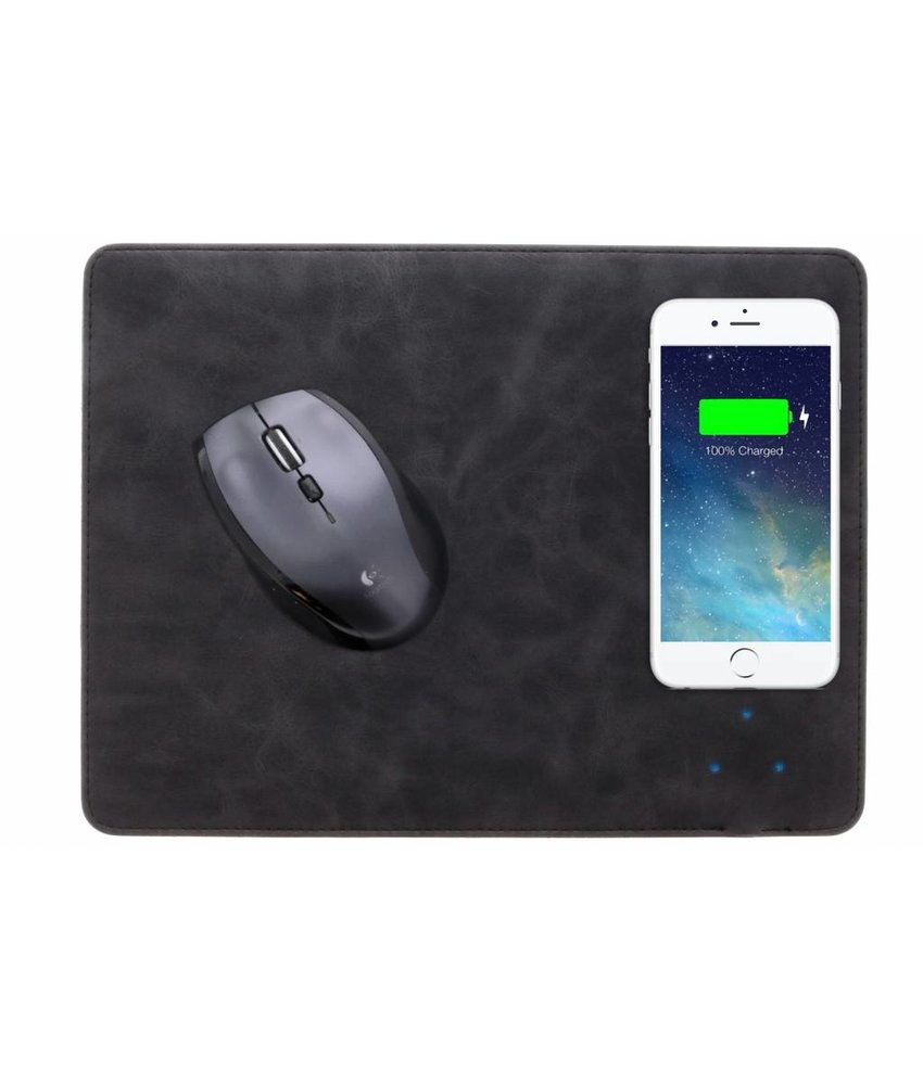 Zwart QI Wireless Charging Mouse Pad