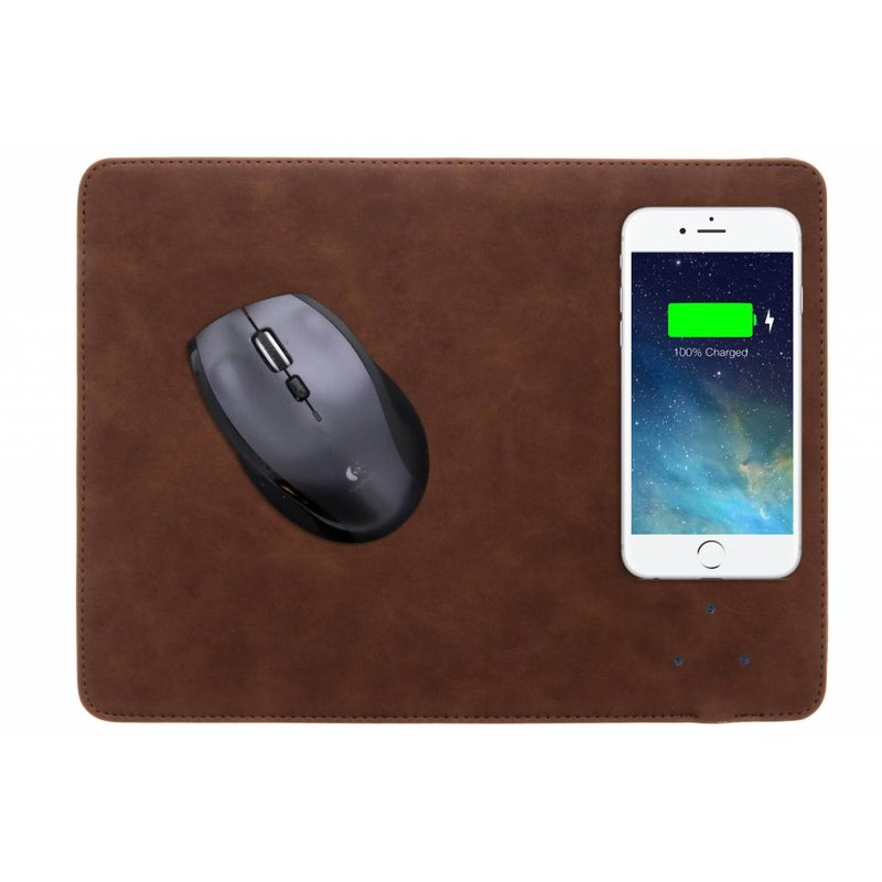 Donkerbruin QI Wireless Charging muismat