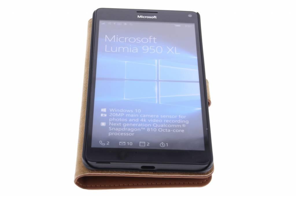 Cas De Livre De Luxe Pour Microsoft Lumia 950 Xl - Brown sqYMwpt7