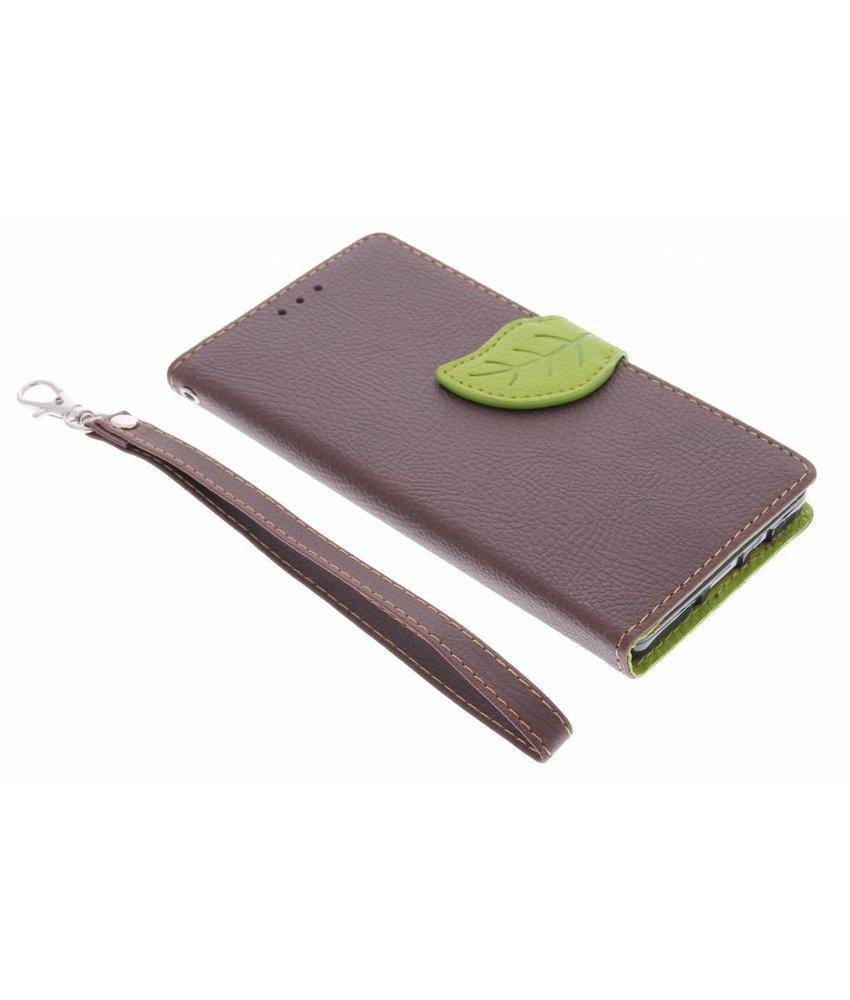 Bruin blad design TPU booktype hoes Samsung Galaxy A5