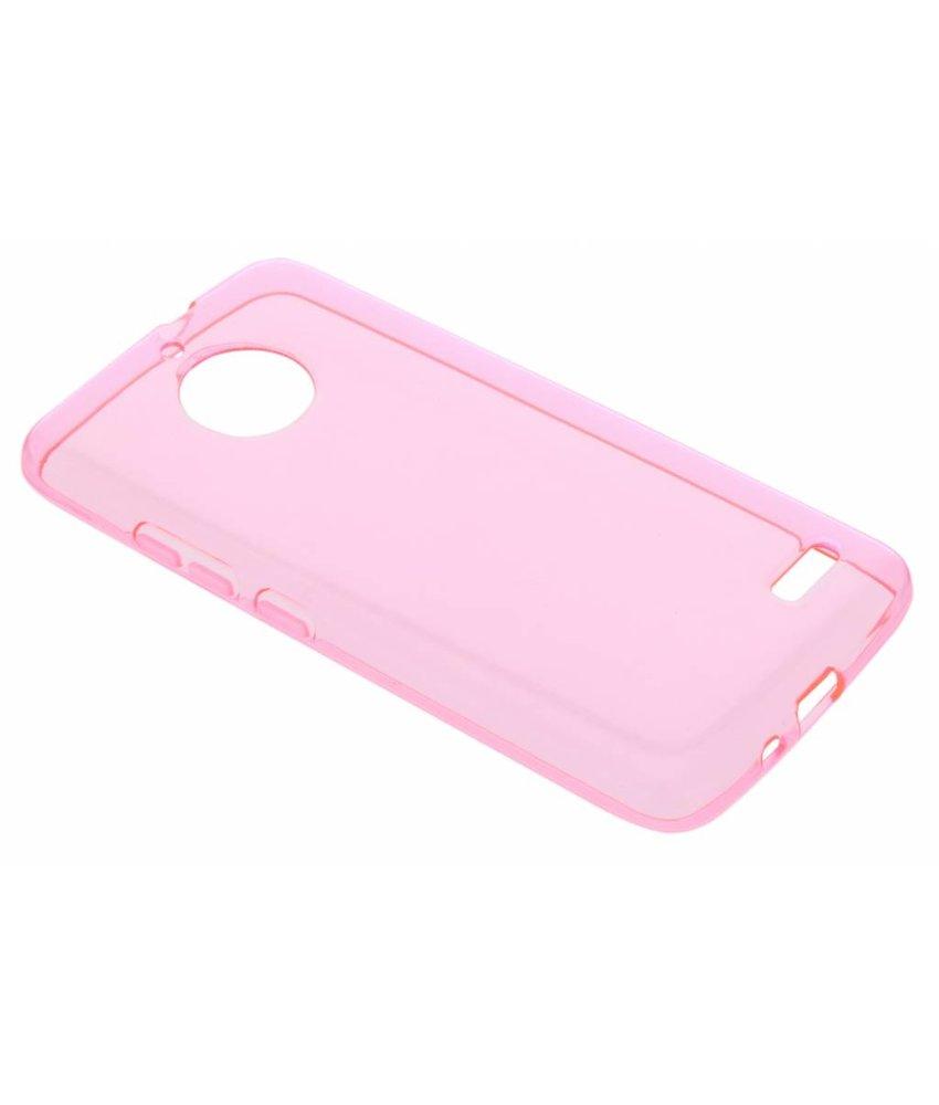 Roze transparant gel case Motorola Moto E4