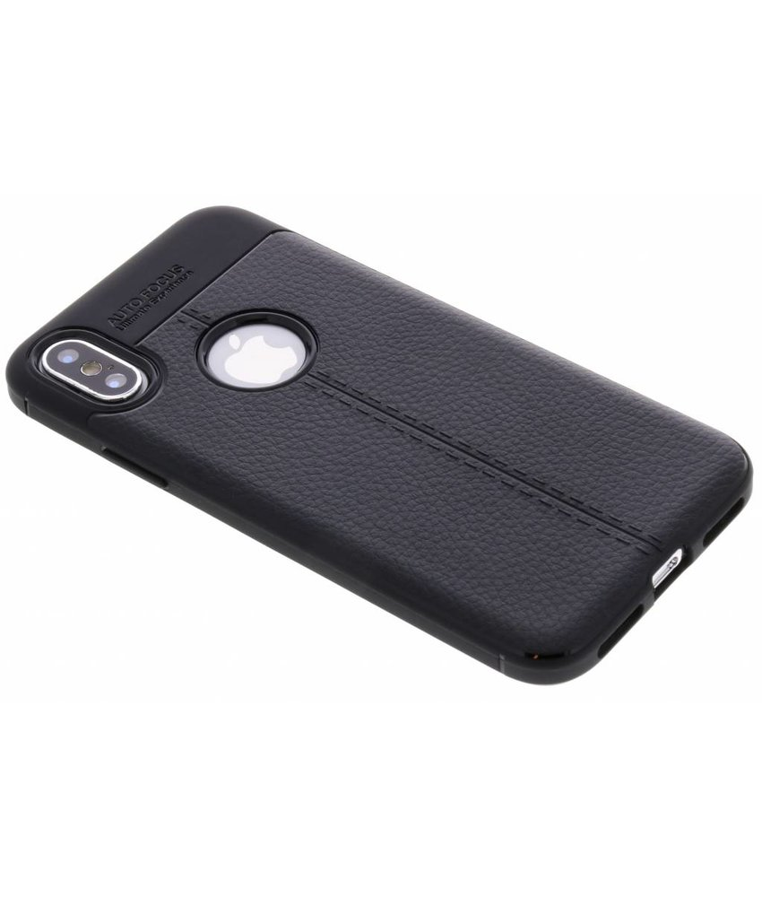Zwart Lederen siliconen case iPhone Xs / X