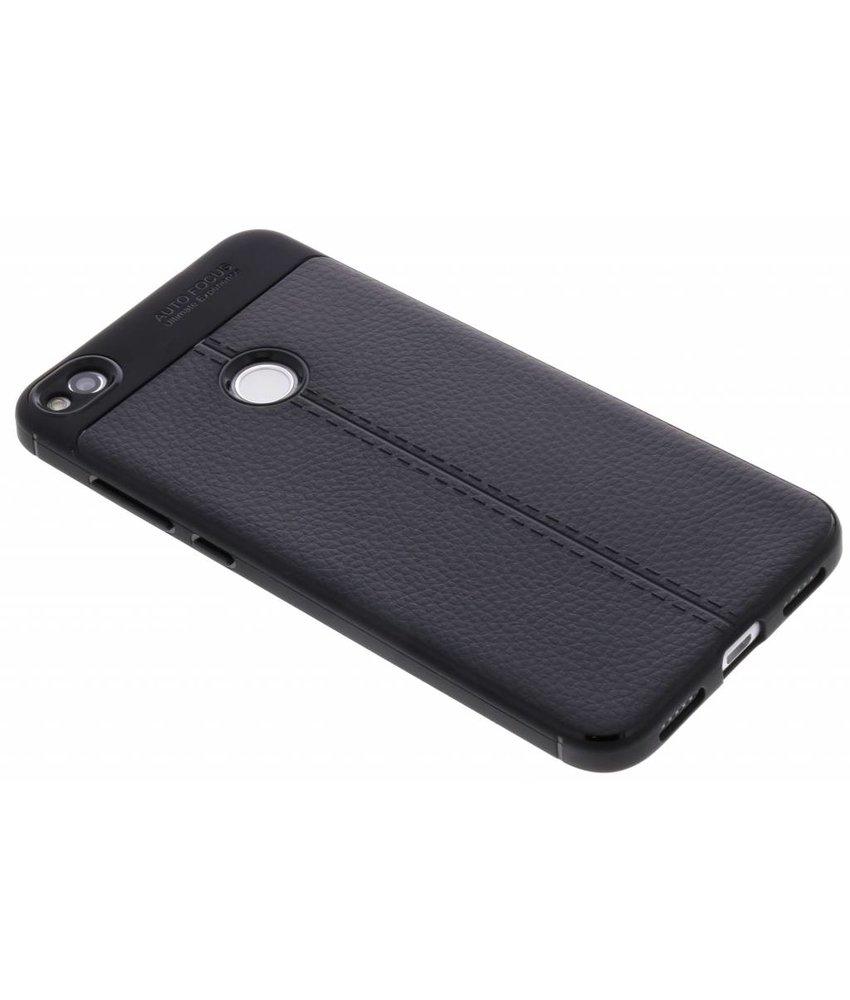 Zwart Lederen siliconen case Huawei P8 Lite (2017)
