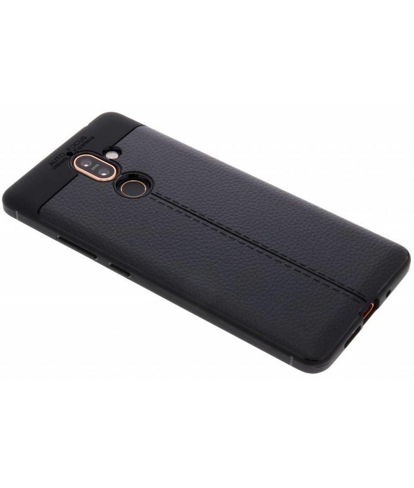 Zwart Lederen siliconen case Nokia 7 Plus