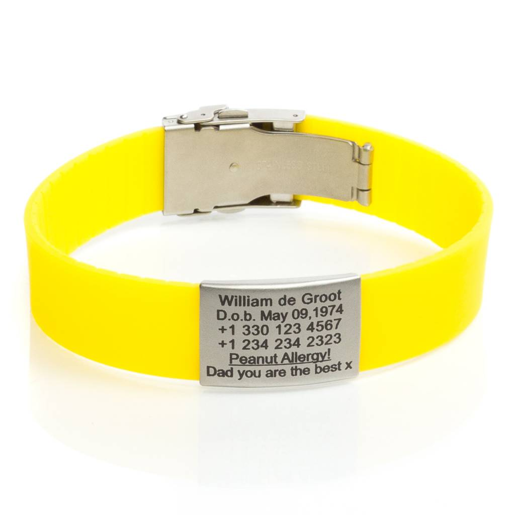 run yellow en bracelet identification icetags id