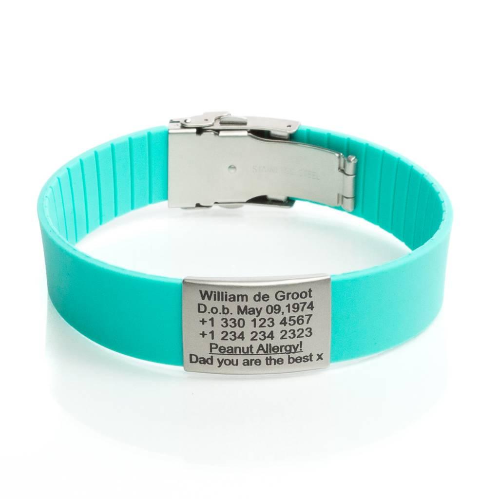 Iets Nieuws SOS armband Turquoise - Icetags SOS armbanden #NM84