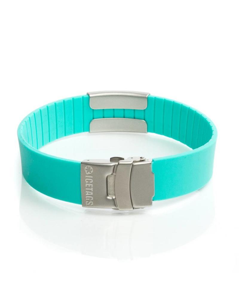 Icetags SOS naam armband Turquoise