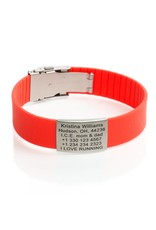 Engraved rubber ID bracelet red
