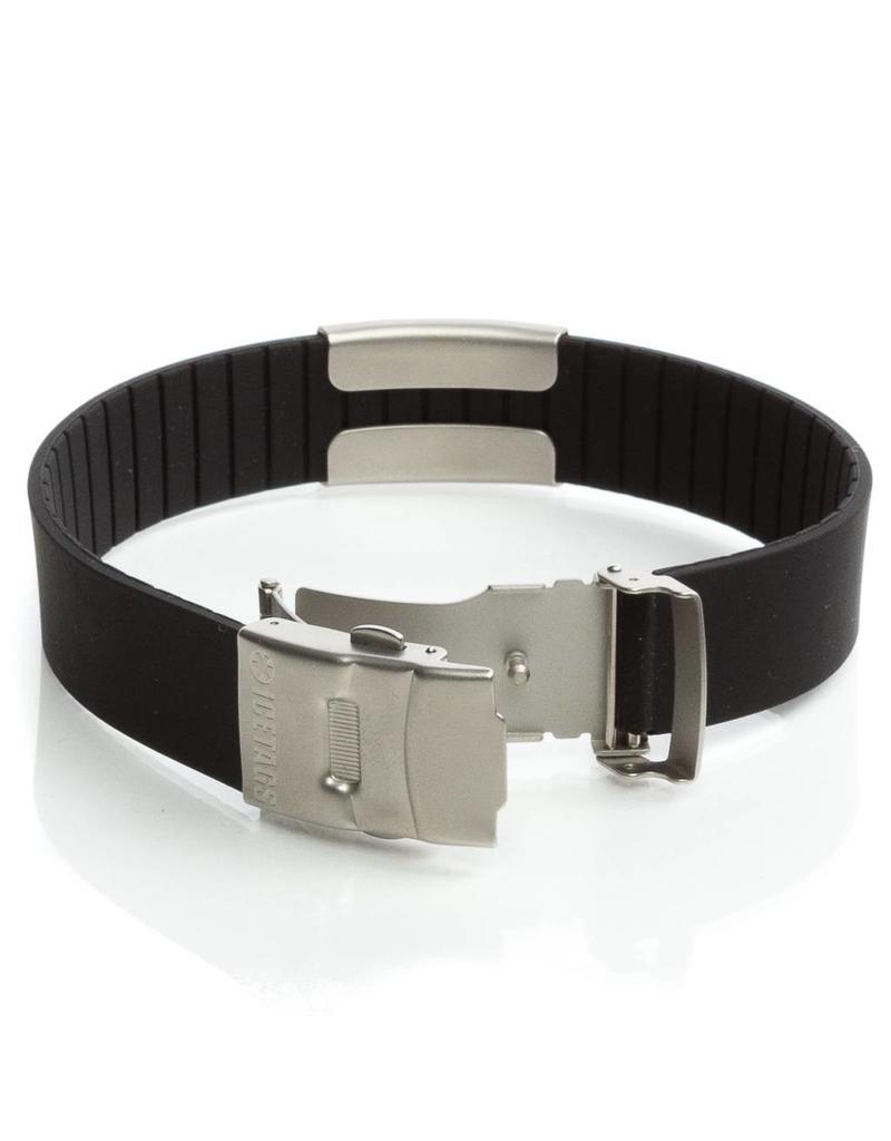 Black Sport ID bracelet; Engraved emergency wristband