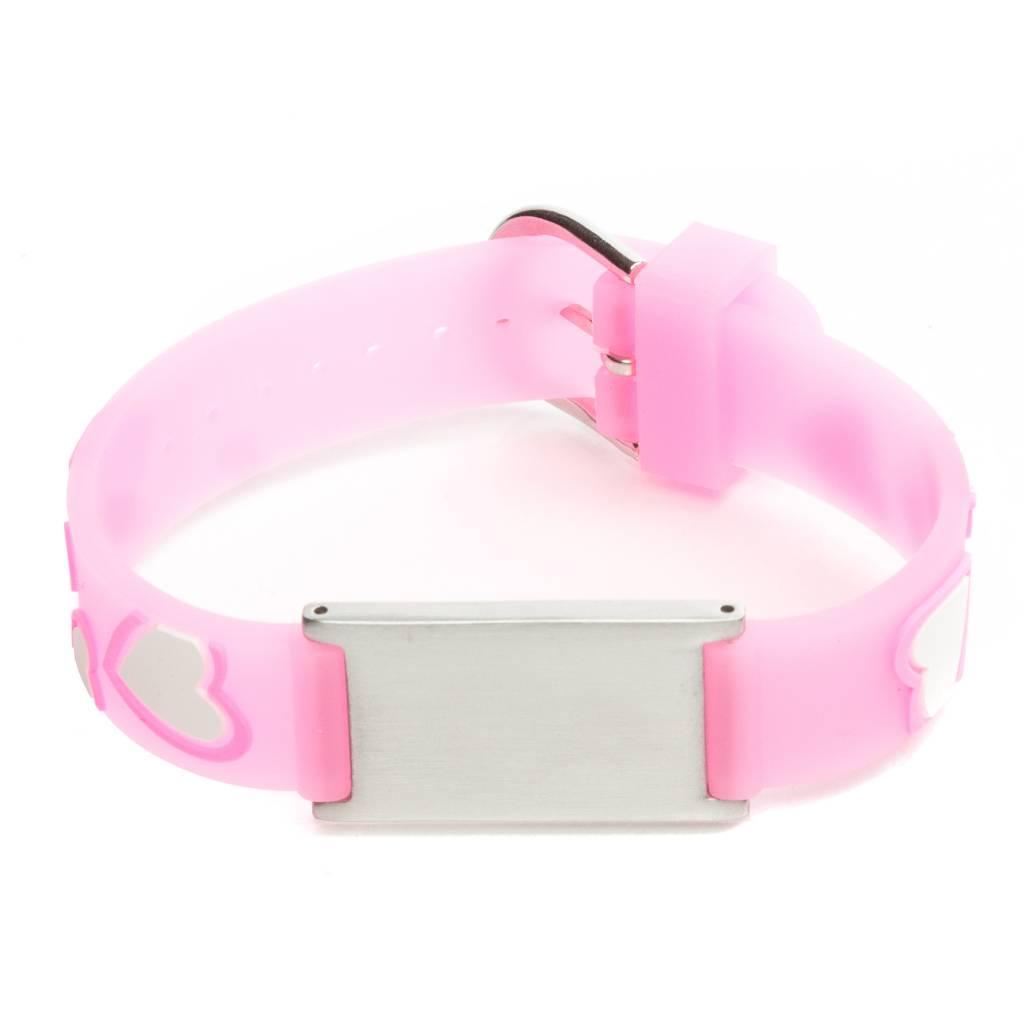 Super ID armband kind Roze hartjes / SOS bandje kind / ID tag - Icetags &FX96