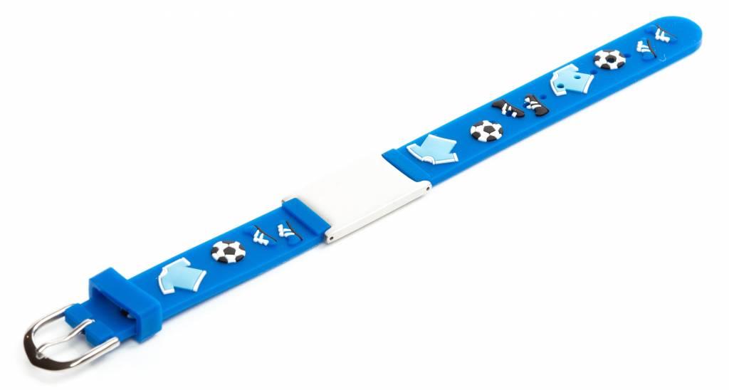 SOS bandje kind Blauw voetbal