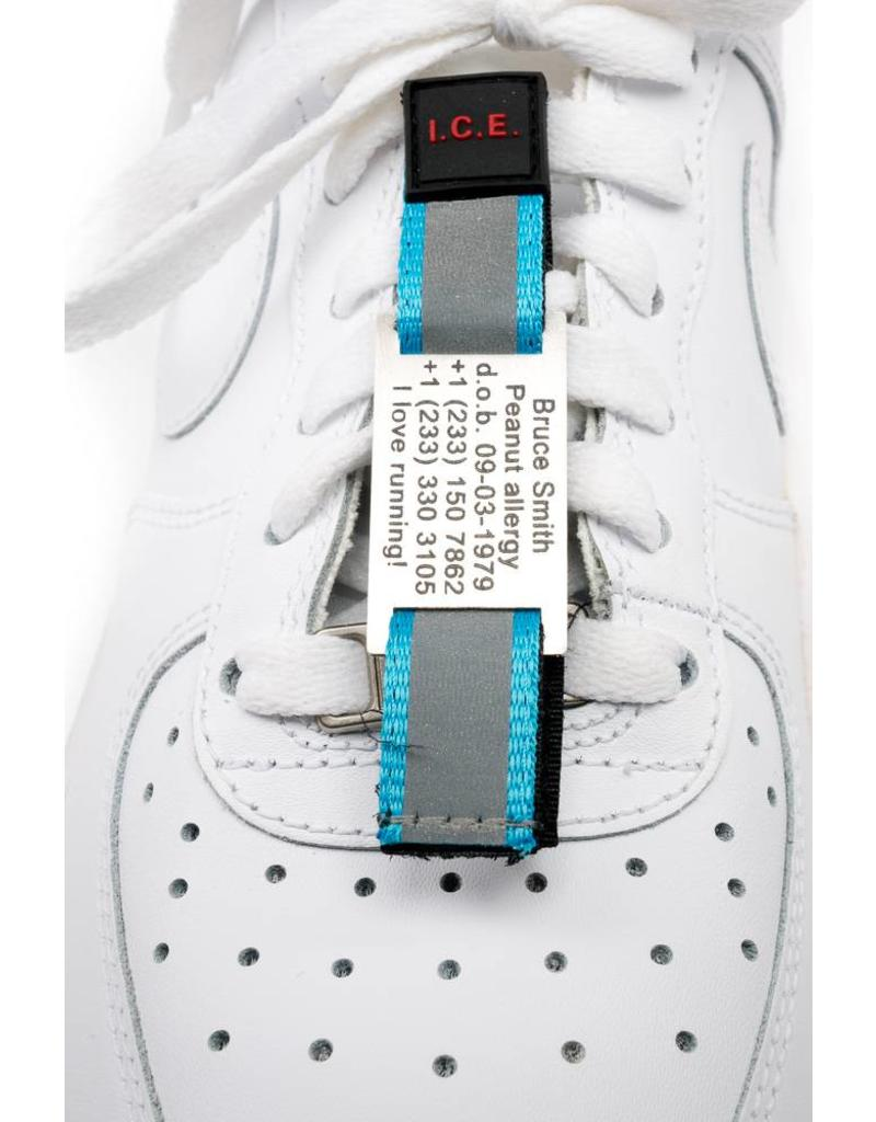 Shoe ID tag Blue; name tag with velcro strip attached to your laces