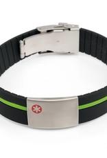 Medische armband met gekleurde band rood/groen/blauw