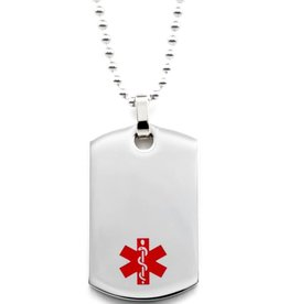 Medical dog ID tag necklace
