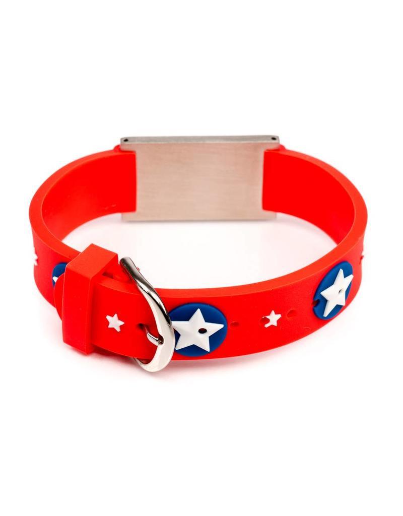 Child Emergency ID bracelet Icetags; red stars