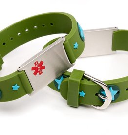 Allergy alert bracelet green stars