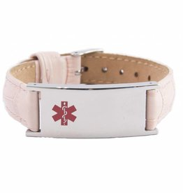 Roze  leren SOS armband