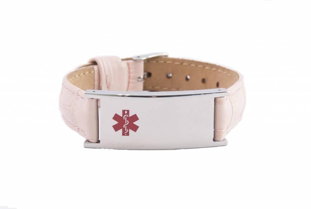 Leather pink ID bracelet for women