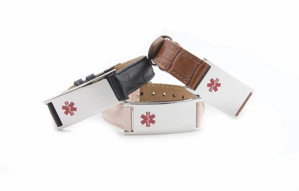 Bruin leren unisex medische SOS armband