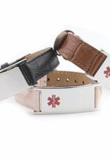 Black leather medical ID bracelet  women