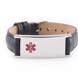 Black leather ID bracelet