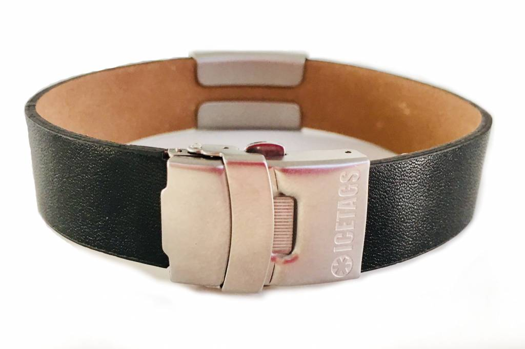 Medical black leather ID bracelet sports