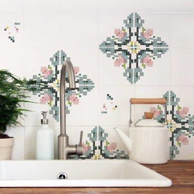 Nuukk FLIESENAUFKLEBER Mosaik-Blume 9 Stck. in 2 Größen