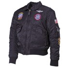 MFH US Pilot Jacket, CWU, Kids, black, with patches