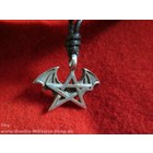 Anderswelt Import Pewter Pendant Pentagramm with bat